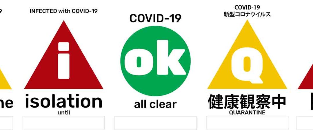 COVID-19 status posters: quarantine, isolation, all clear